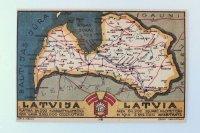 ポストカード(ラトビアの地図)