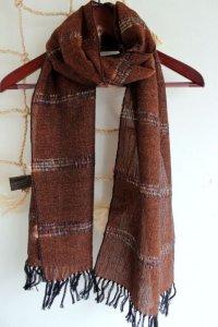 ウール/リネンの手織りストール CC